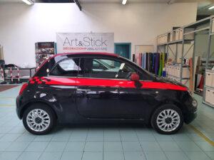 Fiat 500 kit adesivi fasce laterali replica Scacchi