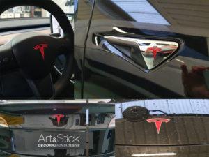 Personalizzazione loghi Tesla model 3 cofano bagagliaio volante telecamere laterali coprimozzo ruote