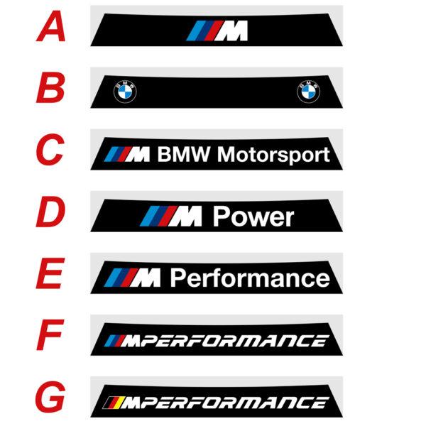 BMW serie 1 2011 2019 fascia parasole adesiva personalizzata, BMW Motorsport, M Power, M Performance