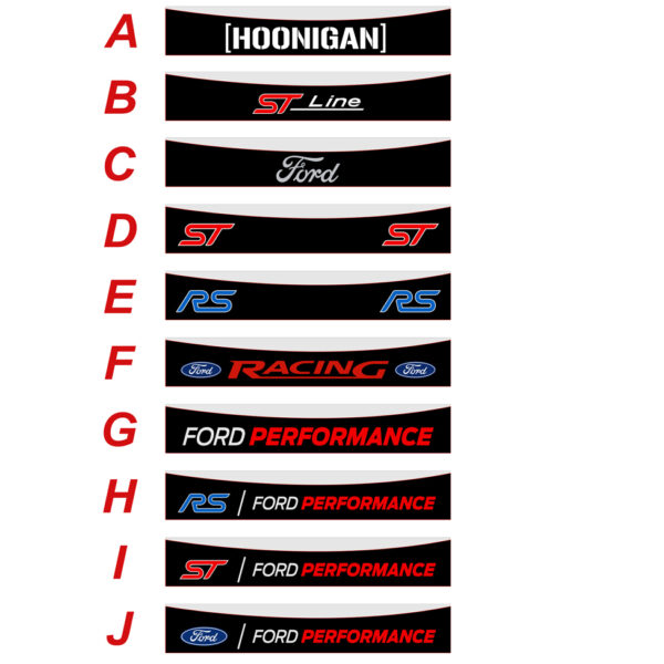 Ford Focus RS fascia parasole adesiva personalizzata, Hoonigan, ST Line, RS Ford Performance, Ford Racing