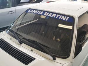 Lancia Delta Martini HR Integrale 1979-1993 fascia parasole adesiva replica, Martini Racing