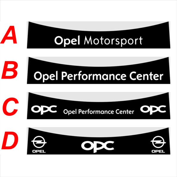 Opel Corsa OPC 2006-2018 fascia parasole adesiva personalizzata, Opel Performance Center